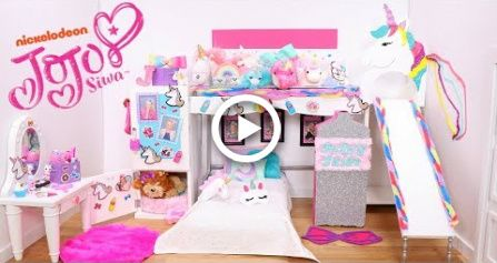 Doll Bunk Bed Slide And Its Jojo Siwa New Bedroom Epic Room Tour With Unicorns Rainbows Doll Bunk Beds Bed With Slide Rainbow Furniture
