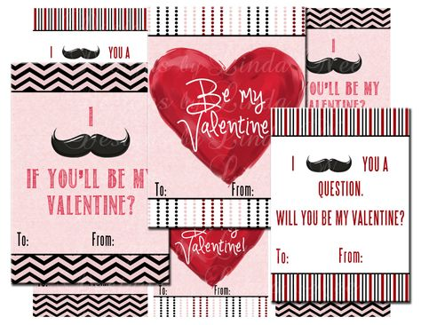 DIY Mustache Valentine's Day Cards (3 x 4 Inch) Images Digital Collage Sheet printable.