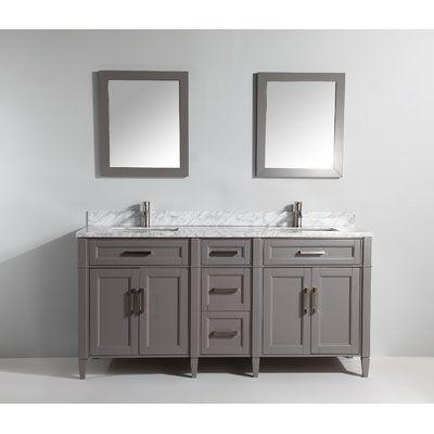 Gracie Oaks Lachine Marble Stone 72 Double Bathroom Vanity Set