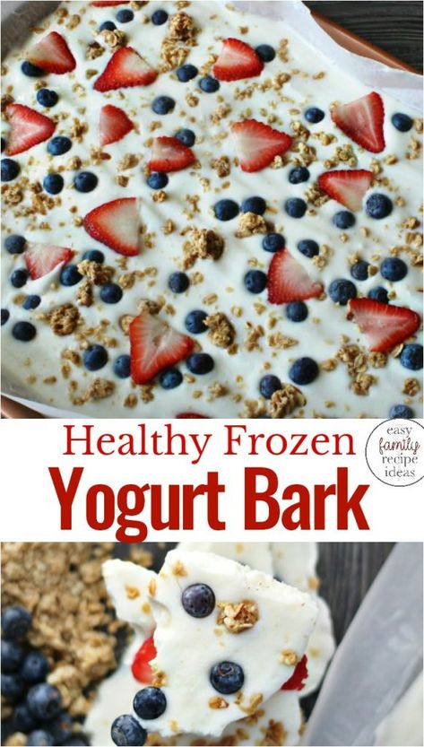 Recipes Snacks Easy Delicious Healthy Yogurt Bark, This Healthy and easy to make Frozen Yogurt Bark is SOOO Tasty. A Red, white, and blue breakfast idea is perfect for summertime. Make a Yogurt Bark Recipe for a snack or dessert too. Healthy Snacks For Kids, Healthy Sweets, Healthy Foods, Healthy Snack Recipes, Avocado Recipes, Eating Healthy, Salad Recipes, Fun Meals For Kids, Food Recipes Snacks