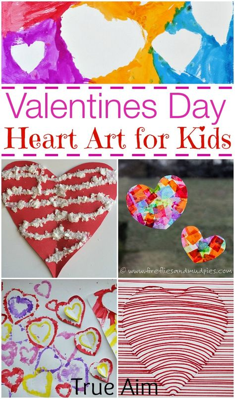 10 Valentine's Day Heart Art Projects for Kids via True Aim Education