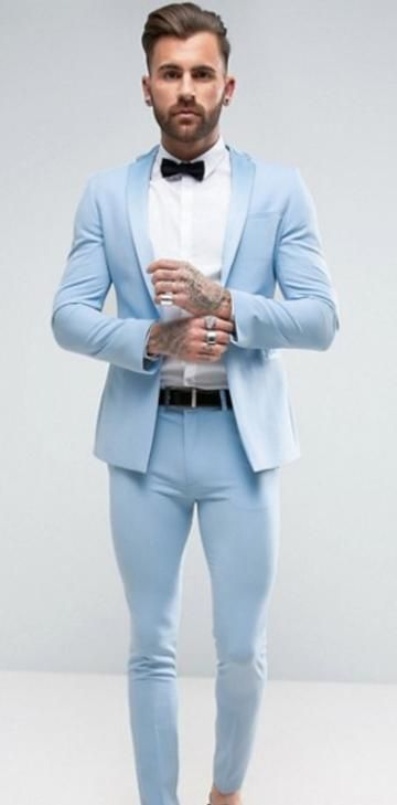 Designs Italian Light Blue Men Suit Slim Fit 2 Piece Groom Tuxedo