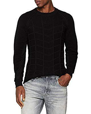 G STAR RAW Herren Pullover Suzaki Moto R Knit LS, Schwarz
