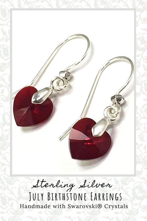 Say Happy Birthday with these Swarovski crystal earrings gift, handmade with a genuine iridescent Swarovski ruby crystal hearts and 925 sterling silver earring hooks. Exclusively from www.adornajewellery.com #swarovskinecklace #crystalearrings #rubyearrings #swarovskijewelry #swarovskijewellery #julybirthday #julybirthstone