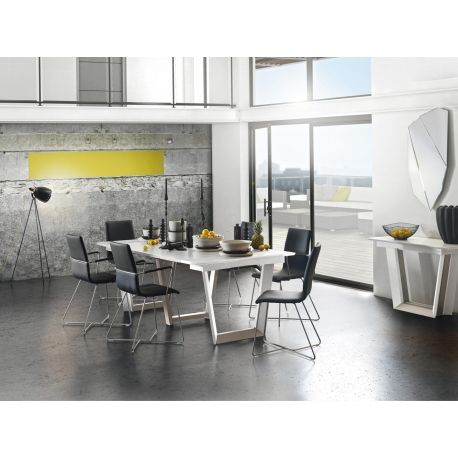 Table Extensible 3 Allonges Gautier 310185 Setis Laque Blanc Sur Panneaux De Particules