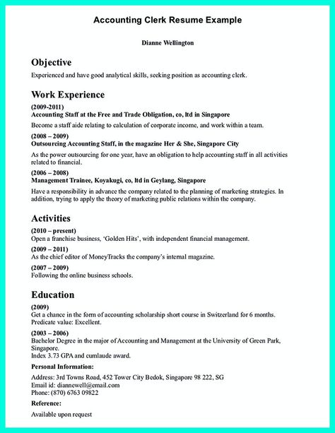 Clerical Resume Sample provides your chronological order of - account clerk resume