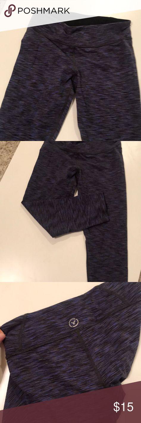 02307b1b148d1 American Eagle crop workout leggings Dark purple blue and black design American  Eagle Outfitters Pants Leggings