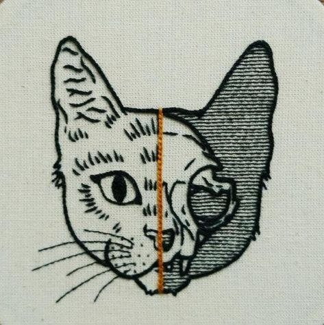 Embroidery Kits Beginner cat and wolf, embroidery hoop kit , diy Kits Embroidery art, diy Kits adult