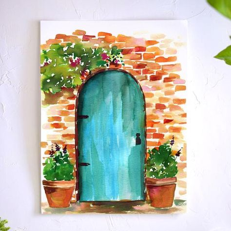 Watercolor Flowers Discover Rustic Doorway Watercolor Kit Paint your own European get away with this Rustic Doorway watercolor supply kit and free step by step tutorial. Learn basic techniques as you paint your way to relaxation. Watercolor Kit, Watercolor Projects, Watercolor Illustration, Watercolour Painting Easy, Watercolor Flowers, Watercolor Portraits, Abstract Watercolor, Watercolour Drawings, Abstract Paintings