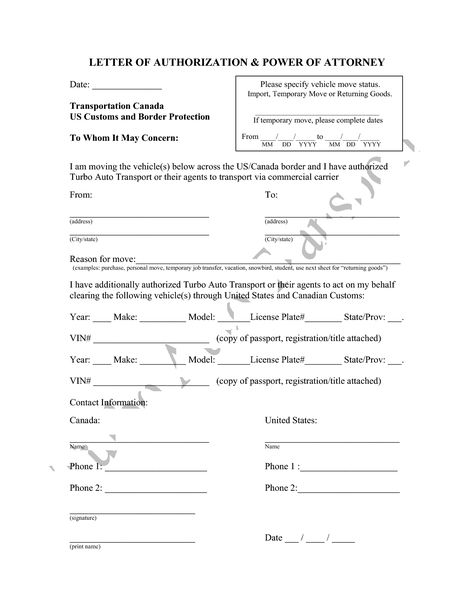 Attorney Form Template Power Authorization Letter Sample