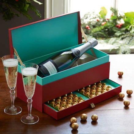 The Christmas Champagne Chocolate Gift Box Embalagem De Luxo Brindes Corporativos Cestas Criativas