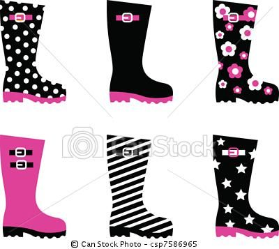 Vector - Wellington rain boots isolated on white ( pink & black )     - stock illustration, royalty free illustrations, stock clip art icon, stock clipart icons, logo, line art, EPS picture, pictures, graphic, graphics, drawing, drawings, vector image, artwork, EPS vector art