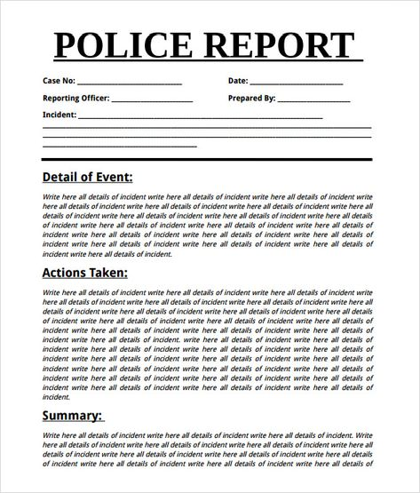Blank Police Report Template Reading Literature Report