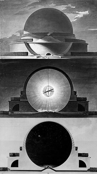 cenotaph for Sir Isaac Newton, by Étienne-Louis Boullée, 1784 Paper Architecture, Architecture Drawings, Futuristic Architecture, Classical Architecture, Art And Architecture, Tableau Design, Isaac Newton, Retro Futurism, Brutalist