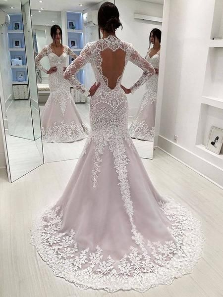 Stunning Lace Sequins Long Sleeve Mermaid Open Back Wedding Dresses Ab1514 Long Sleeve Mermaid Wedding Dress Wedding Dress Sleeves Wedding Dresses
