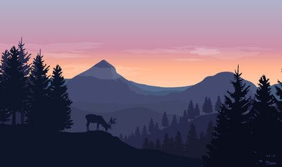 Landscape With Blue Silhouettes Of Mountains Hills And Trees Wild Deer And Sunset Or Sunrise Sky In Landscape Silhouette Watercolor Paintings Easy Landscape