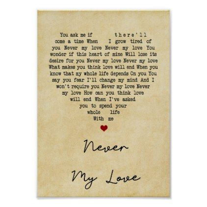 Never My Love Vintage Heart Song Lyric Print Zazzle Com In 2020 Song Lyric Print Lyric Prints Song Lyric Posters