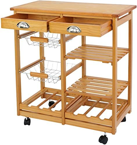 Best Seller Nova Microdermabrasion Rolling Wood Kitchen Island Storage Trolley Utility Cart Rack W Storage Drawers Baskets Dining Stand W Wheels Countertop Wood Wood Top Online In 2020 Kitchen Island Storage Wood Kitchen Island