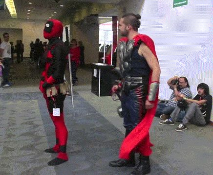 """This needs to happen!  Deadpool will be acting all cocky and make a joke, thinking Thor won't understand him, but then he just hooks his hammer onto Deadpool and he's like, """"Well shit!""""  Then Quicksilver has to come along and be like, """"You didn't see that coming."""" This needs to be the next end-of-credits scene"""
