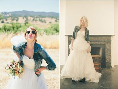 novias con cazadora de jeans | boda | novios, boda y vestidos de novia