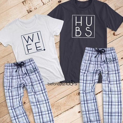 Wife and Hubs {with Est. Date on Pant} Couple's Pajama Set /// Mr. and Mrs. Pajama Set, Honeymoon, Christmas Pajamas | #1573