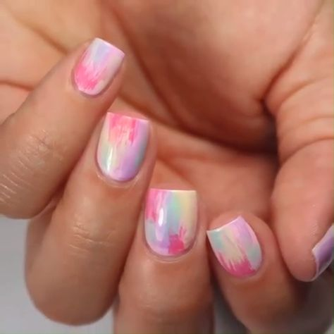 Easy colorful nail design for short nails for every beginner.