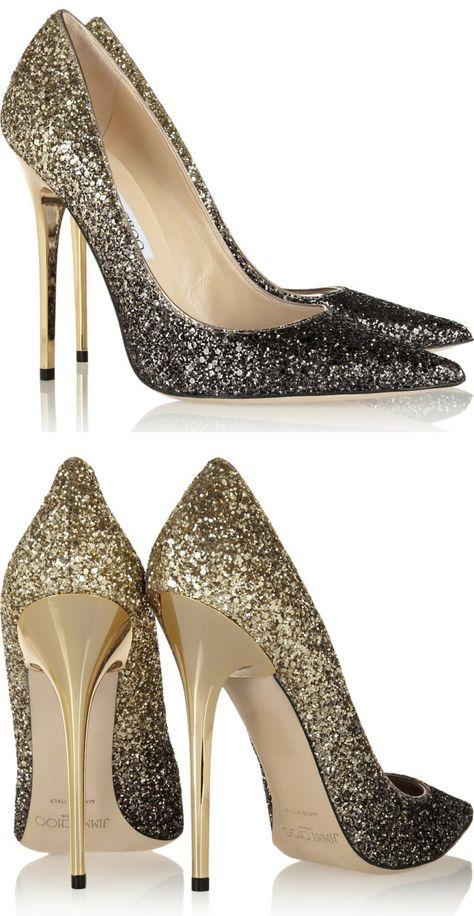 Fade from black to gold Jimmy Choo pumps. #jimmychoo #weddinghsoes