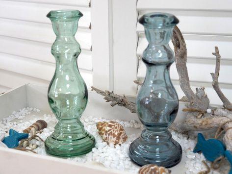 2x Blumenvase Vase Blau Grun Tischdeko Deko Maritim Sommer Maritim