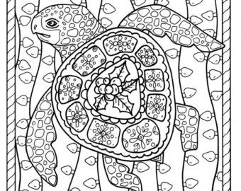 Image Result For Turtle Coloring Pages For Adults Christmas Turtle Coloring Pages Christmas Colors Christmas Coloring Pages