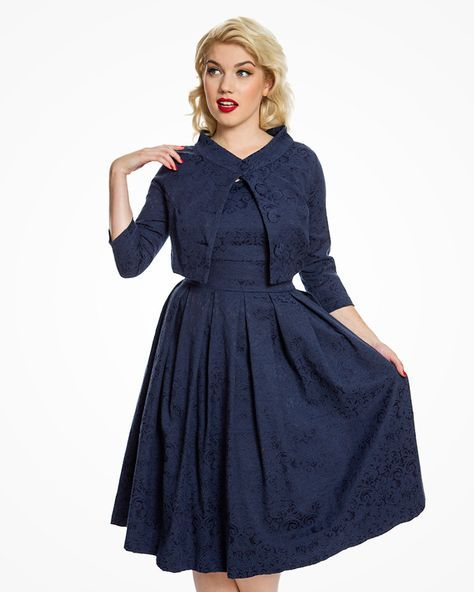 Marianne' Jackie O Style Navy Jacquard Swing Dress Co-ord