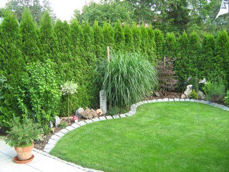 Kleiner Garten Mit Bepflanzung Rollrasen Und Granit Beeteinfassung