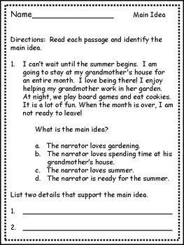 Main Idea For Third Grade Differentiated Passages Main Idea