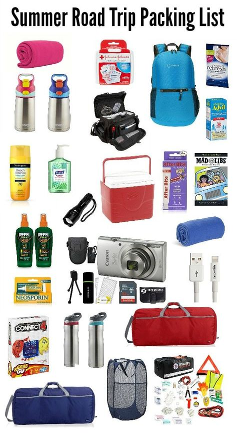Here is the Ultimate Summer Road Trip Packing List with everything you need to enjoy your trip, avoid mishaps, and keep the whole family happy rolling on down the road! Tons of tips, suggestions and ideas to make summer traveling easier. Packing List Beach, Road Trip Packing List, Travel Packing Checklist, Travel List, Packing Tips, Road Trip Checklist, Vacation Travel, Cruise Vacation, Disney Cruise