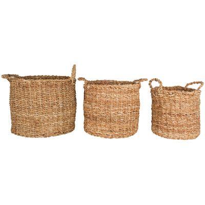 3 Piece Round Yamba Seagrass Basket Set Reviews Temple Webster Basket Sets Seagrass Basket Basket