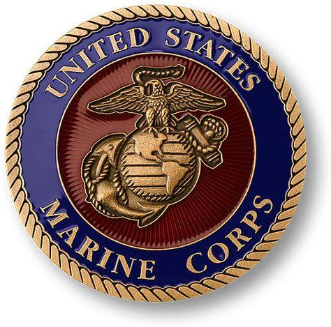 "Military Self-adhesive Metal Medallion 2/""-marine Corps"