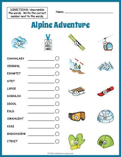 Free Printable Ski Vocabulary Worksheet | JP | Vocabulary worksheets ...