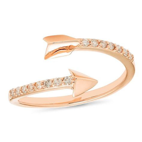 1 8 Ct T W Diamond Arrow Wrap Ring In 10k Rose Gold Rose Gold Rose Gold Diamond Ring Fashion Rings