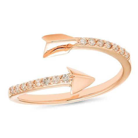 1 8 Ct T W Diamond Arrow Wrap Ring In 10k Rose Gold Rose Gold Rose Gold Diamond Ring Fashion Rings
