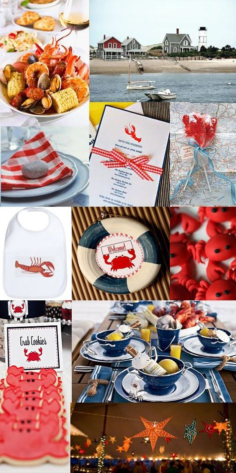 Clambake 7in Plates Seafood Engagement 4th of July Birthday Wedding Shrimp Lobster