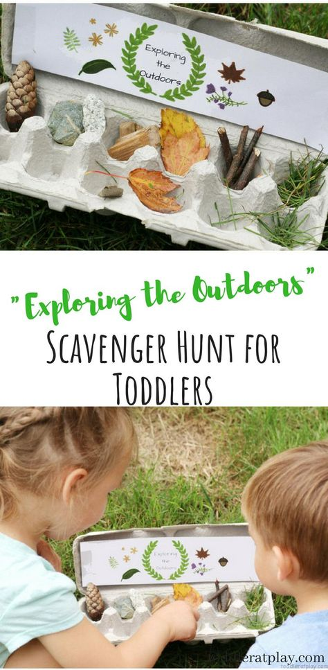 Exploring the Outdoors Scavenger Hunt + Free Printable – Toddler at Play Super fun and active activity for preschoolers and toddlers. They'll have a fun exploring the beautiful nature that surrounds them and find their hidden treasures. Outdoor Activities For Toddlers, Forest School Activities, Nature Activities, Summer Activities, Indoor Activities, Therapy Activities, Family Activities, Educational Activities, Toddler Outdoor Games