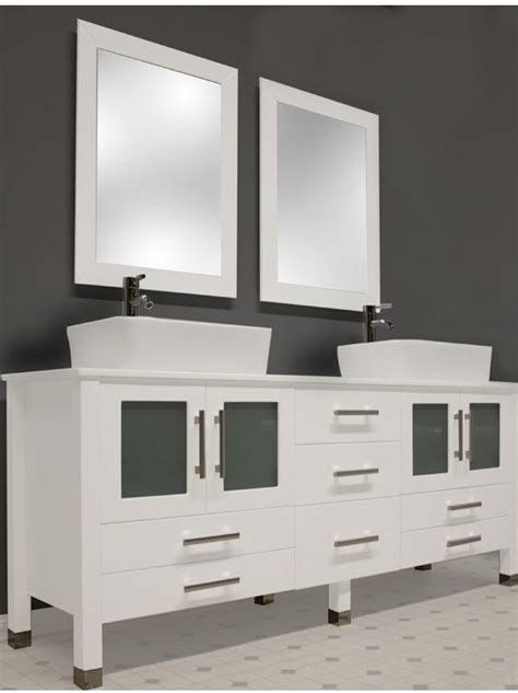 71 Inch Wide Contemporary White Double Sink Bathroom Small
