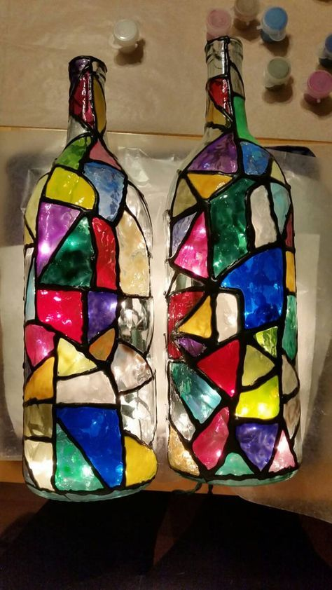 Stained Glass Bottles With Lights Available In 4 Great Designs