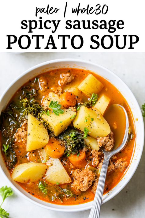 Spicy Sausage Potato Soup - The Almond Eater
