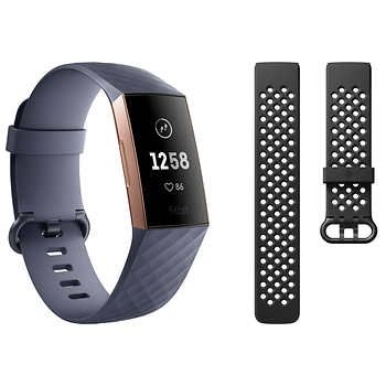 Fitbit Charge 3 Activity Tracker Bundle Rose Gold Fitbit