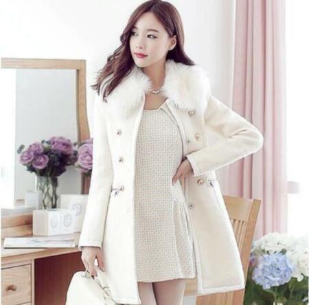 XQS Women Winter Warm Double Breasted Outwear Wool Coats