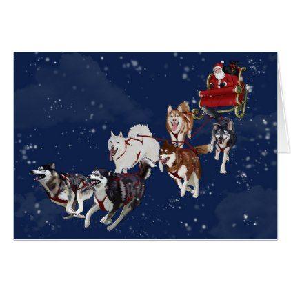 Husky Christmas Cards.Husky Christmas Card Pulling Santa S Sleigh Zazzle Com