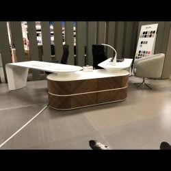 Huge Modern High End Designer Desk Reception White Gloss Walnut 2200 Home Office Desks Desk Design Home Office Furniture