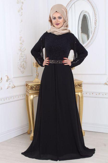 Tesetturlu Abiye Elbise Simli Siyah Tesettur Abiye Elbise 79381s Tesetturisland Com Elbise Elbiseler Kiyafet