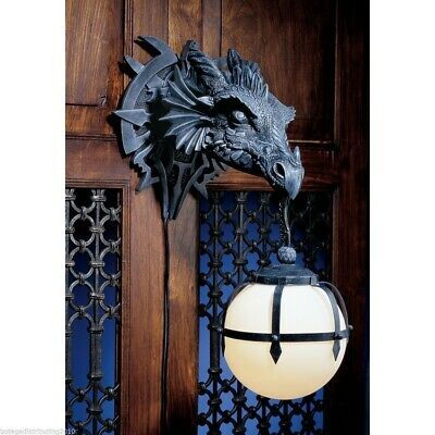 Dungeon Evil Dragon Head Wall Mount Ball Lamp Handpainted Sculpture Decoration Wall Sconce Lighting Dragon Wall Electric Wall Sconce