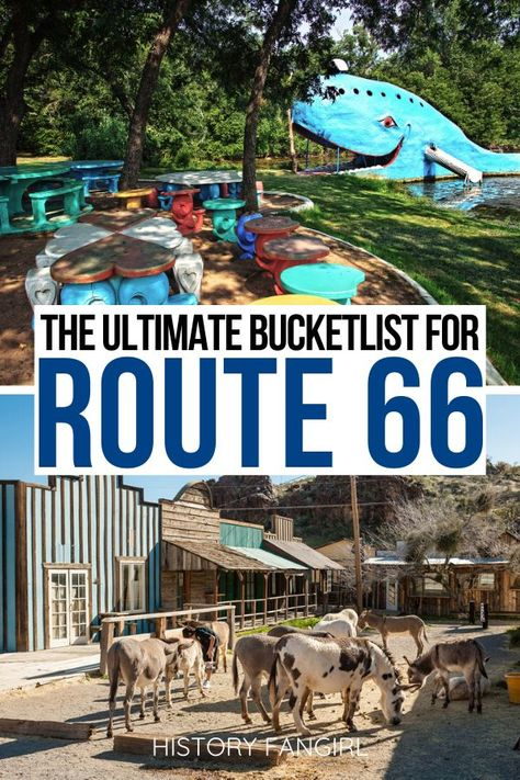 Planning a trip on Route 66? Here are the best Route 66 stops you have to see! what to do on Route 66 | things to do on Route 66 | Route 66 bucket list | route 66 illinois | oute 66 missouri | oute 66 kansas | oute 66 oklahoma | oute 66 texas | oute 66 new mexico | oute 66 arizona | oute 66 california | USA Road Trips | Route 66 photography | Route 66 Instagram spots | Route 66 trip ideas | Route 66 itinerary | things to see on Route 66 | route 66 road trip | route 66 sign | route 66 signs | usa Route 66 Road Trip, Travel Route, Road Trip Hacks, Road Trip Usa, Places To Travel, Places To Visit, New Mexico Road Trip, Texas Travel, Usa Travel Guide